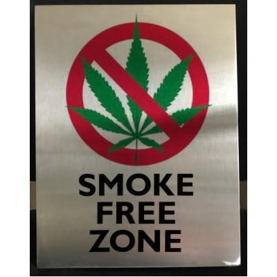 7.5'' X 11'' Stainless Steel Smoke Free Zone Sign