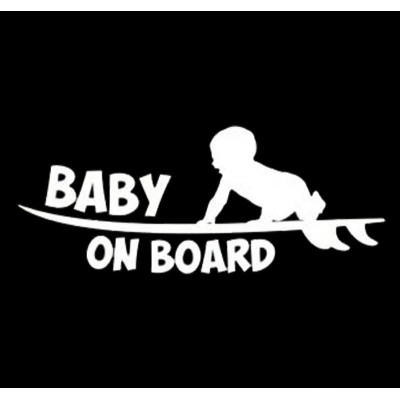 "4"" Surfing  Baby On Board  Vinyl Decal Buy 2 get 3rd Free"