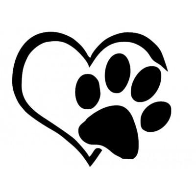 4'' Love Dogs Paw Décalque Vinyle Achetez en 2 Recevez 3ieme Gratuit