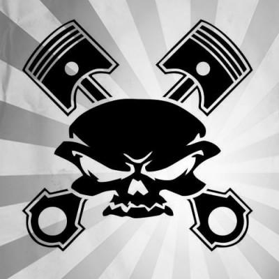 4''  Piston Skull Décalque Vinyle