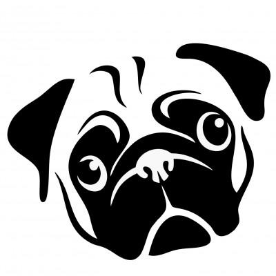 4'' Pug Décalque Vinyle Achetez en 2 Recevez 3ieme Gratuit